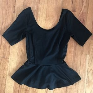 Tops - ❗️SOLD❗️ Black Short Sleeve Peplum Top